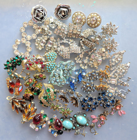 rhinestone clip on earrings and brooches