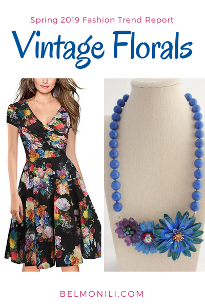 vintage florals, statemenet necklace, dress with pockets