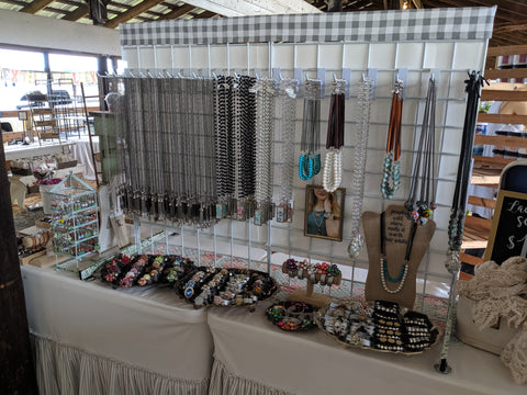 bel monili layering necklaces, gridwall craft show display