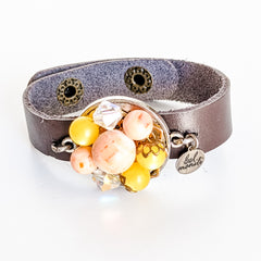 Peach & Yellow Leather Cuff Bracelet