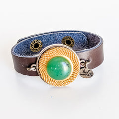 Green & Gold Leather Cuff Bracelet