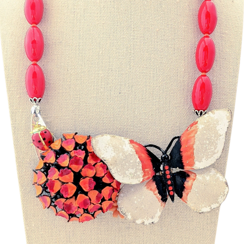Secret Ladybug Vintage Flower Collage Necklace