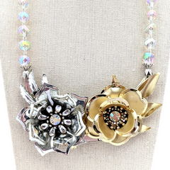 Mixed Metals Vintage Flower Collage Necklace