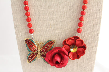 Red Rose Butterfly Collage Necklace