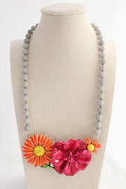 Raspberry and Orange Flower Collage Necklace - bel monili, Pittsburgh PA, country living fair, vintage market days