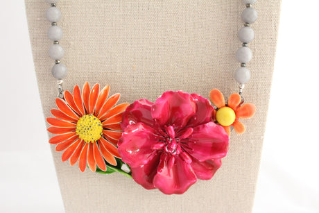 Raspberry and Orange Flower Collage Necklace