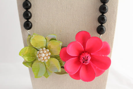 Hot Pink and Green Collage Statement Necklace - bel monili, Pittsburgh PA, country living fair, vintage market days