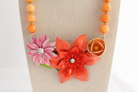 Peachy Pink Perfection Collage Necklace - bel monili, Pittsburgh PA, country living fair, vintage market days
