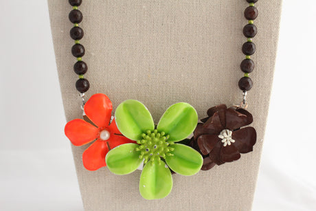 Bright Mod Crazy Daisy Collage Necklace