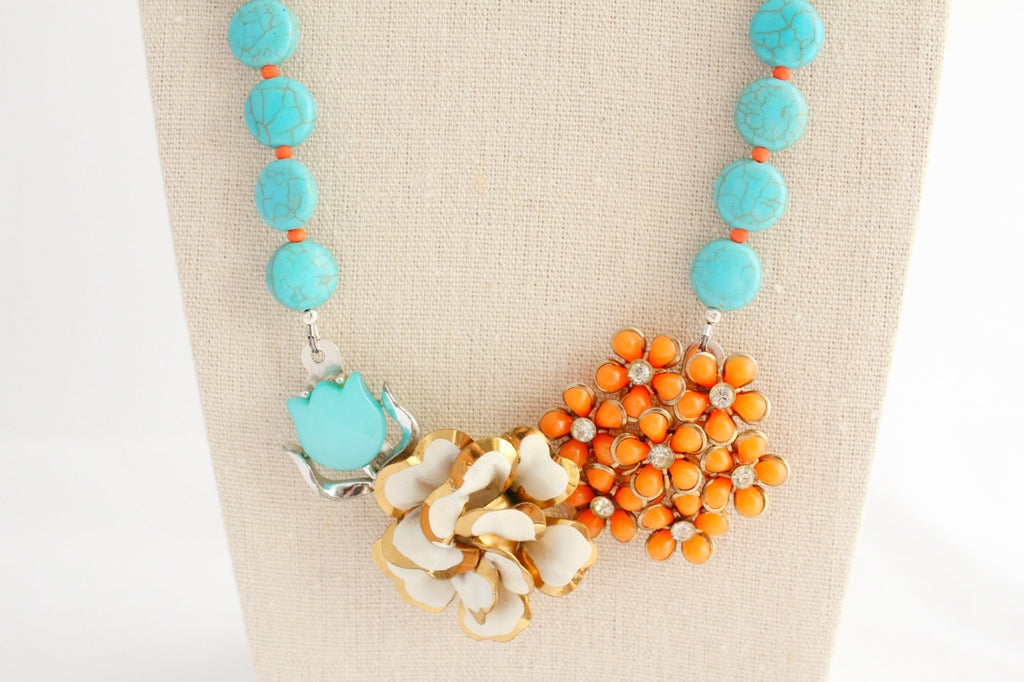 Tangerine and Teal Midcentury Statement - bel monili, Pittsburgh PA, country living fair, vintage market days