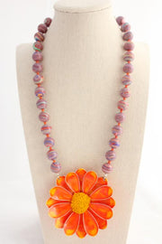 Orange Marbled Crazy Daisy Necklace - bel monili, Pittsburgh PA, country living fair, vintage market days