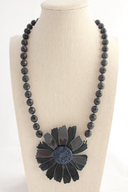 Midnight Sparkle Daisy Necklace - bel monili, Pittsburgh PA, country living fair, vintage market days