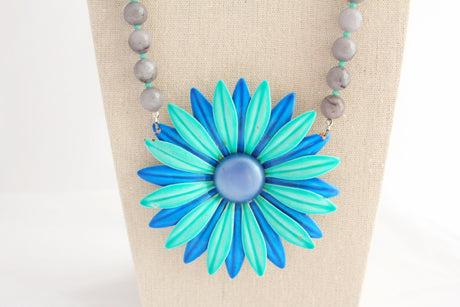 Singing the Blues Daisy Necklace - bel monili, Pittsburgh PA, country living fair, vintage market days