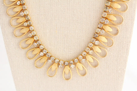 Vintage Gold Curvy Rhinestone Necklace - bel monili, Pittsburgh PA, country living fair, vintage market days