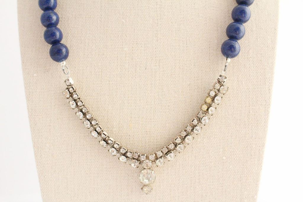 Navy Blue Rhinestone Necklace - bel monili, Pittsburgh PA, country living fair, vintage market days