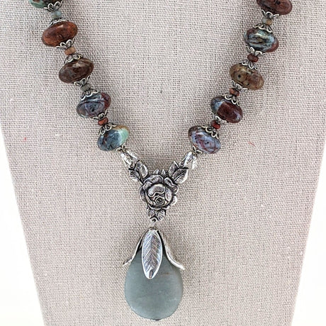 African Turquoise and Amazonite Rose Necklace