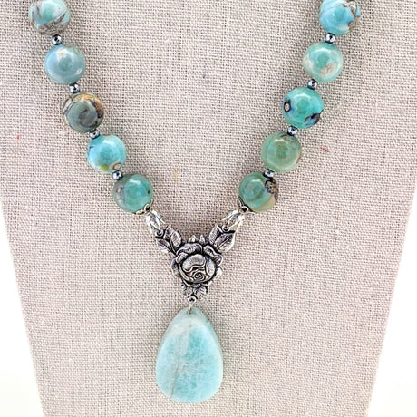 Ocean Agate and Amazonite Rose Necklace
