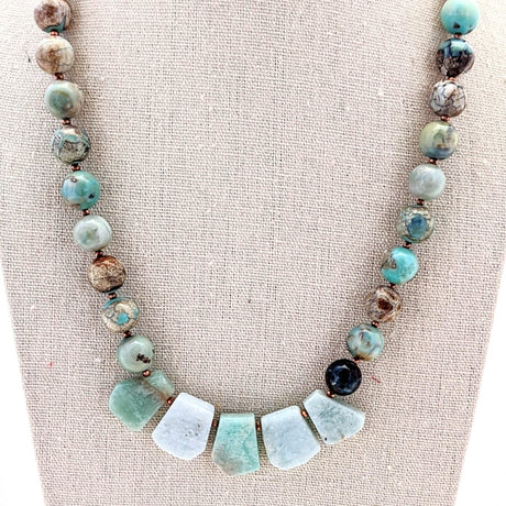 Amazonite and Ocean Agate Collar Necklace