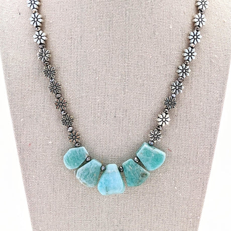 Silver Flower and Amazonite Collar Necklace