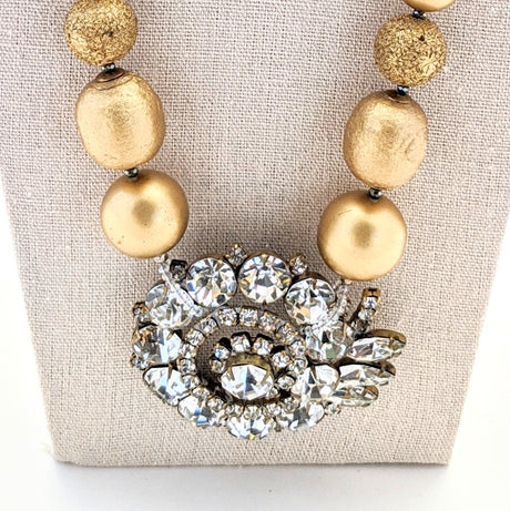 Bold Gold Vintage Rhinestone Focal Necklace