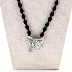 Jet Black Vintage Rhinestone Bow Focal Necklace