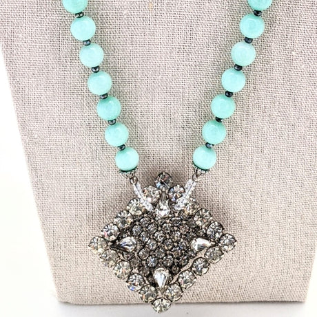 Aqua Vintage Rhinestone Square Focal Necklace