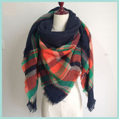 Navy and Orange Plaid Blanket Scarf