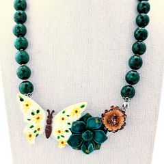 Vintage Butterflies Flower Collage Necklace