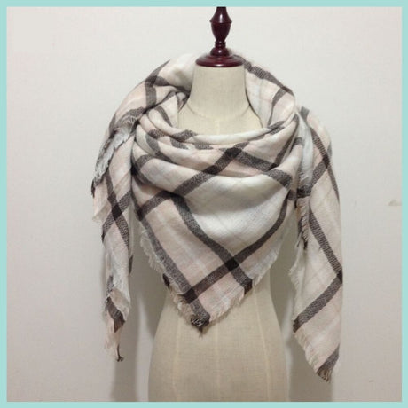 Pink and Brown Plaid Blanket Scarf