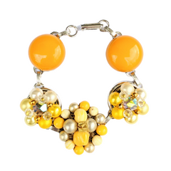 Butterscotch Yellow Cluster Bracelet (Bracelet 408)