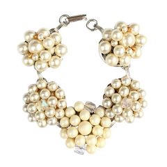 Crystal and Cream Pearl Cluster Bracelet (Bracelet 410)