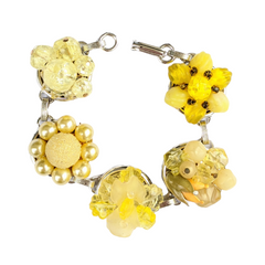 Bright Yellow Vintage Cluster Bracelet