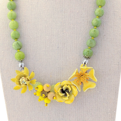 Yellow Rose Vintage Flower Collage Necklace