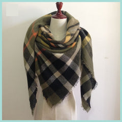 Olive and Orange Plaid Blanket Scarf