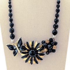 Black & Gold Vintage Flower Collage Necklace