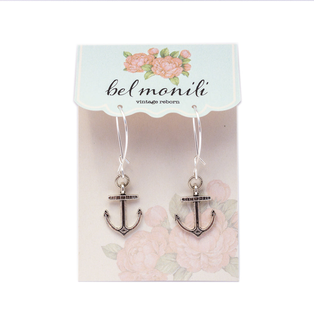 anchor earrings, nautical earrings