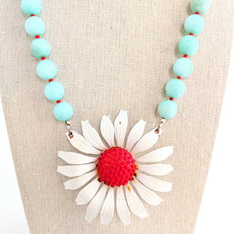 Aqua and Red Flower Necklace