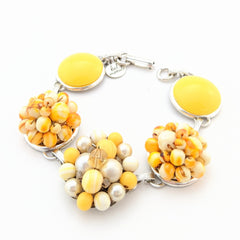 Sunflower Yellow Vintage Cluster Bracelet