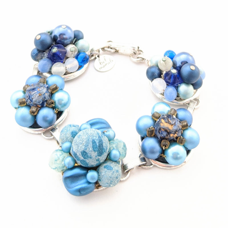 Mixed Blues Vintage Cluster Bracelet