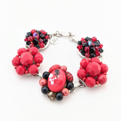 Red & Black Vintage Glass Cluster Bracelet
