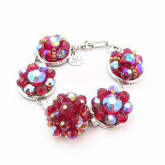 Iridescent Red Vintage Glass Cluster Bracelet
