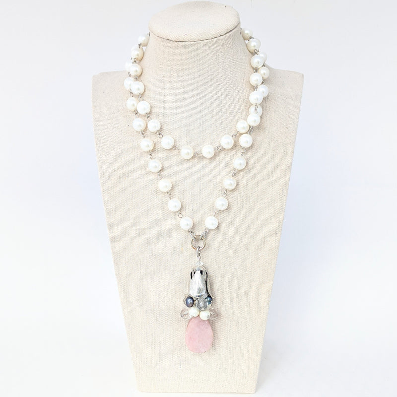 Pearl and Kunzite Long Beaded Bauble Necklace