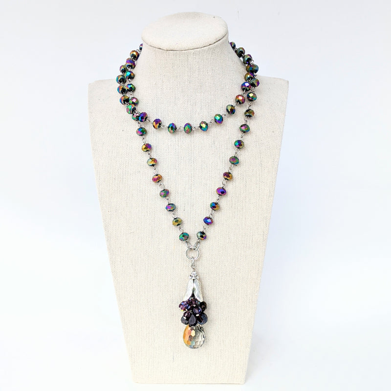 Carnival Glass & Crystal Long Beaded Bauble Necklace