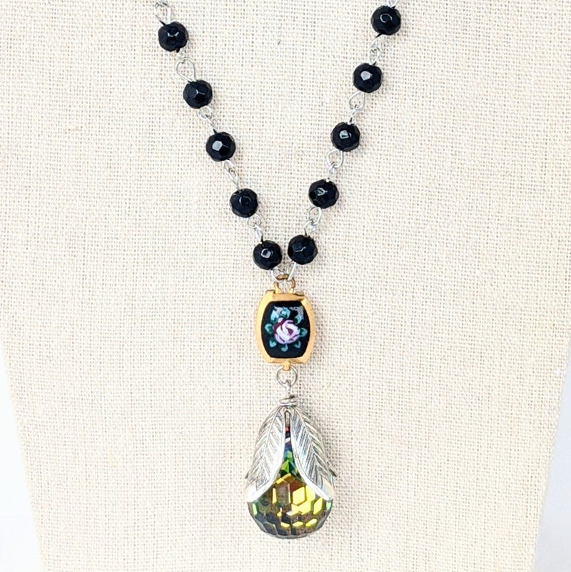 Black Glass & Vintage Flower Long Beaded Bauble Necklace
