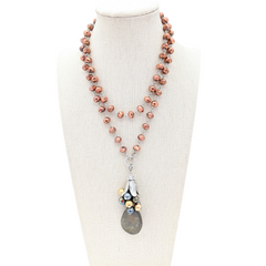 Mixed Metals Long Beaded Bauble Necklace