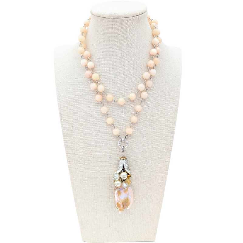 Peach Botswana Agate Long Beaded Bauble Necklace
