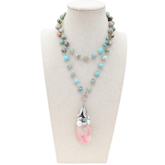 Pink Opal & Ocean Agate Beaded Bauble Necklace