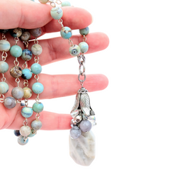 Gray Agate Long Beaded Bauble Necklace