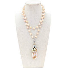 Peachy Pearl Long Beaded Bauble Necklace