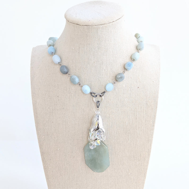 Aquamarine Rosary Long Beaded Necklace (Bauble 246)